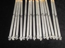16 X FROSTED & CLEAR SOLID GLASS TUBES LAMP SPARE DROP LUSTRES HAND TWISTED ENDS